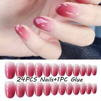 24Pcs Gradient False Nail Tips Natural Red Pink Full Cover Fake Nails With Glue·