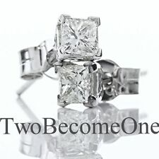 18 Carat Stud White Gold SI1 Fine Diamond Earrings