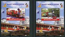 Chad 2016 MNH Disney World Trains 2x 1v M/S Railways Cartoons Stamps