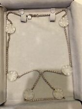 Lalique Silver Necklace With White Frosted Crystal Flowers