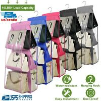 6 Pockets Clear Hanging Purse Handbag Tote Bag Storage Organizer Closet Rack Bag