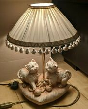 Vintage Italian Porcelain Lamp, Cats On Cushion, Electric, Pleat Shade *Kitsch*