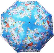 Beautiful Automatic-Opening Folding Songbirds On Pink Blossom Trees Umbrella