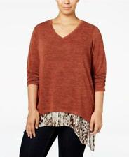 Style&co Womens Plus Size Brown Layered-Look Heather Blouse Top Size 2X 3X