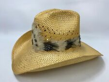VTG Larry Mahan Size 7 1/8 081 Natural Straw Cowboy Hat w/ Feathers Texas, USA