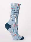 Blue Q Women's Crew Funny Novelty Socks, F*** Off, I'm Reading. - Blue (OSFA)