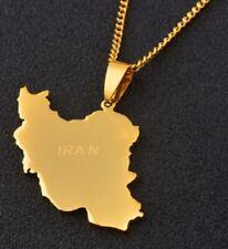 Quality Gold Islamic Republic of Iran Map Flag Necklace Pendant Persian Persia