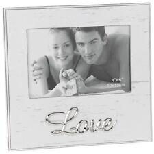 """Blanc Shabby Chic 6""""x4"""" Amour Cadre Photo Écriture Argent Mariage Anniversaire Cadeau"""