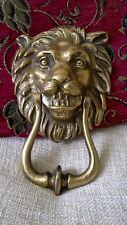 vintage  Georgian  / Victorian heavy solid brass lion head door knocker patina
