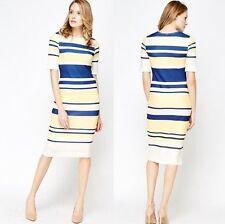 Ladies Smart Formal Textured Mono Stripe Shift Bodycon Dress Yellow Blue Size 12
