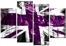 PURPLE BLACK WHITE UNION JACK CANVAS WALL ART FLAG PICTURES SPLIT  4 PANEL 100CM