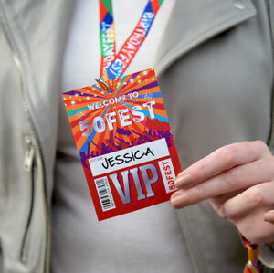50FEST 50th Birthday Party Festival Style VIP Pass Lanyards Favours FIFTY FEST