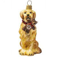 Golden Retriever with Teddy Bear Polish Glass Dog Ornament