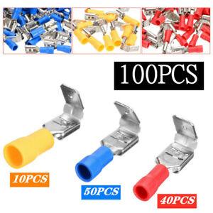 100PCS Red Blue Yellow Piggyback Insulated Spade Crimp Terminal Connectors