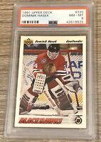 1991/92 Upper Deck Card #335 Domink Hasek ROOKIE HOF PSA NM-MT 8 Low Pop