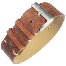 20mm ColaReb A1 Strip Strap 1-Pc Rust Brown Leather G10 Made in Italy Watch Band
