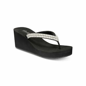 Thalia Sodi Women Wedge Heel Flip Flop Thong Sandals Emira Black Bling