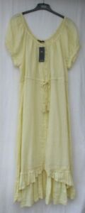 LADIES MARKS AND SPENCER SOFT YELLOW PURE LINEN GYPSY STYLE MIDI DRESS SIZE 18