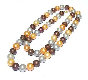 "Triple Colour Orange Silver Brown Round 10mm Edison Cultured Pearl 26"" Necklace"