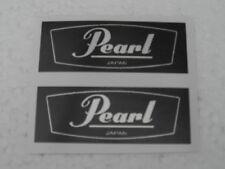 vintage Pearl 'silver on black'plain type vinyl shellbadge.2 copies.Selfadhesive