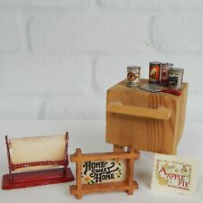 Vintage Dollhouse Miniature Kitchen Butcher Block Paper Cutter Canned Goods Lot