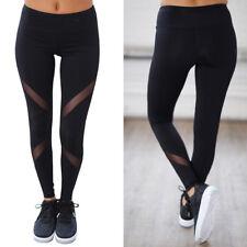 Women High Waist Fitness Yoga Mesh Leggings Sport Gym Running Athletic Pants US1