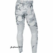 Nike Pro Hypercool Print Men's Tights S White Gray Camo Gym Training Running New