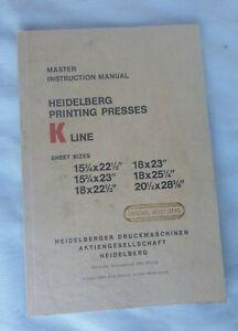 vintage K-Line Heidelberg printing presses Master Instruction Manual 78 Pages