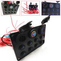 8-Gang LED Rocker Switch Panel Circuit Breaker Dual USB Waterproof Marine Boat