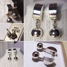 VINTAGE MODERNIST MEXICO TAXCO STERLING SILVER DESIGNER LARGE & BOLD EARRINGS