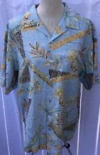 Pineapple Palm Trees Luau Hawaiian Button Men's Silk Shirt Medium Limited