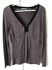 Jane Lamerton Knit Blouse Top SiZe S 8-10 Brown Velvet Neckline V-neck