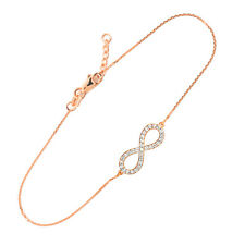 14K Rose Gold Diamond Infinity Pendant Bracelet