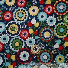 BonEful Fabric FQ Cotton Quilt VTG Blue Red White Yellow Dutch Tulip Flower Dot