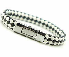 Men's Women's Leather And Brass Clasp Bracelet Black And White