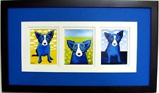 "GEORGE RODRIGUE BLUE DOG NOTECARD TRIO - FRAMED SIZE: 22"" x 12"""