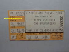 THE PRETENDERS 1984 Concert Ticket Stub TAMPA JAI-ALAI FRONTON Very Rare