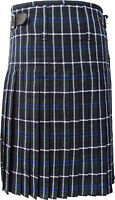 Scottish Blue Douglas Tartan Pleated to White Stripes Highland Traditional Kilts
