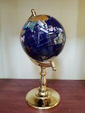 "Lapis Blue Oceans Semi-Meridian Gemstone Table Desk Globe - 13"""