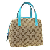 GUCCI GG Pattern Hand Bag Pouch 1245420416 Purse Beige Blue Canvas Leather 40122
