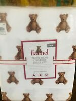 Pottery Barn Kids Teddy Bear Organic Flannel Cotton Twin Size Sheet Set New