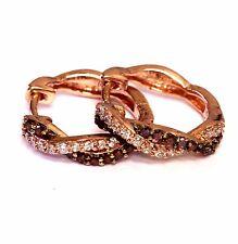 925 Sterling Silver rose gold .36ct SI1 H diamond hoop earrings ladies vintage