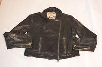 Burberry Brit Black Calf Leather Biker Zip Cuff Jacket Coat UK 12 US 10 IT 44