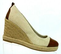 G.H. Bass & Co. Kaitlyn Beige/Brown Espadrille Fabric Wedge Shoes Women's 10 M