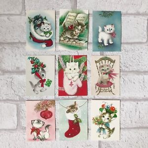 Vintage Christmas Cat Card Toppers, Gift Tags Make Your Own Cards Kitten