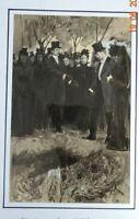 PER LINDROTH 1878-1933 Illustrateur Suédois Dessin encre  1900 scène enterrement