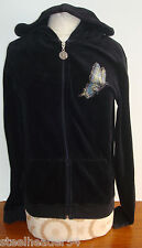 Ankh Royalty Black Studded Zip-Front Velour Hoodie~ Size L