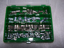 90tlg Nietmuttern Sortiment M6 + M8 Stahl und Edelstahl mit Flachkopf in Box