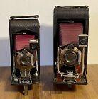 2 ANTIQUE  No. 1-A & No. 3-A FOLDING POCKET KODAK RED BELLOWS CAMERAS - WORK