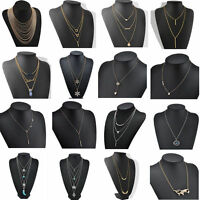 Vintage Women Pendant Chain Choker Chunky Statement Bib Necklace Jewelry Charm